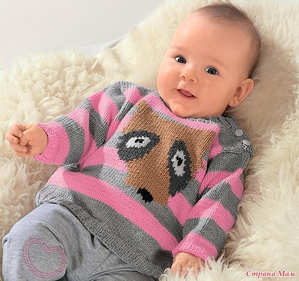 . Детский свитер с рисунком, 2 модели. Спицы