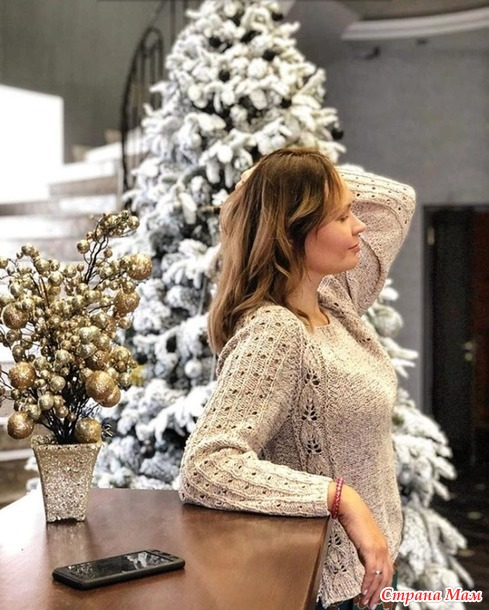 Пуловер из пряжи summer tweed