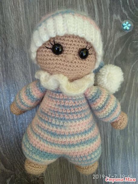 Моя первая игрушка амигуруми - куколка-малышка Звёздочка