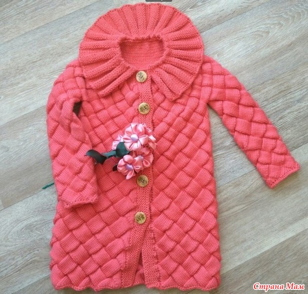Кардиган (Пальто) для девочки связанный в технике Энтрелак