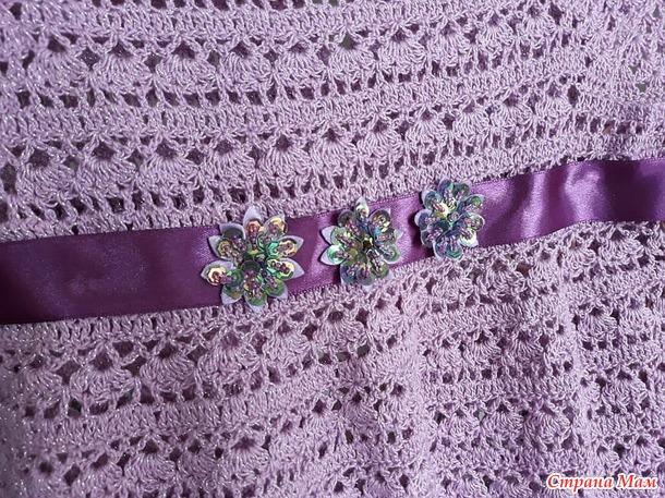 """Платье """"Нежное"""" для девочки крючком с люрексом. Модный новый узор"""