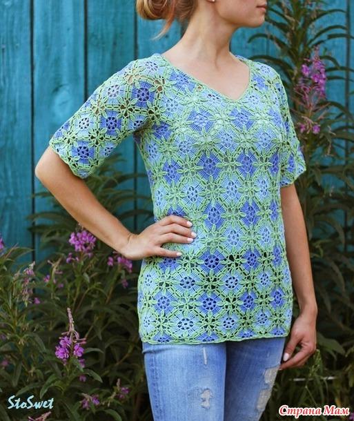 Блуза из квадратных мотивов крючком