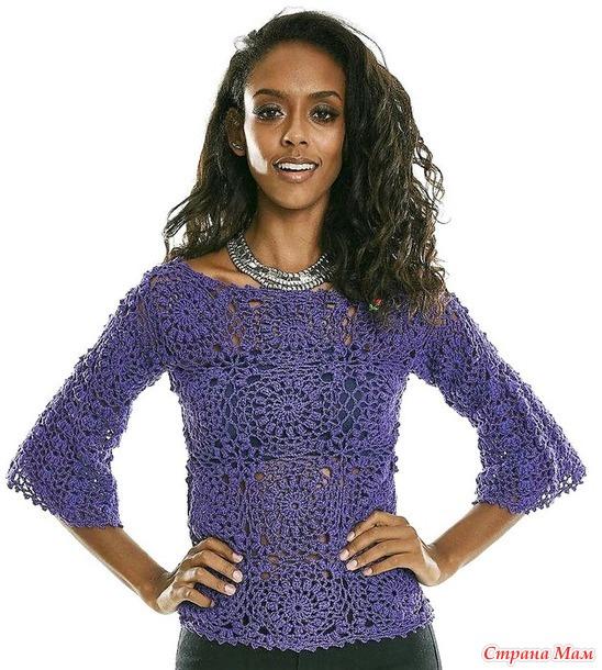 Ультрафиолетовая блуза из цветочных мотивов