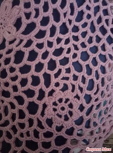 """Летний пуловер из мотивов крючком 48-50 размера. Или мой первый опыт """"ИРЛАНДСКОГО КРУЖЕВА"""""""