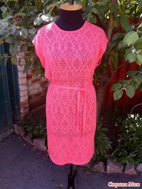 Ажурное платье вязаное