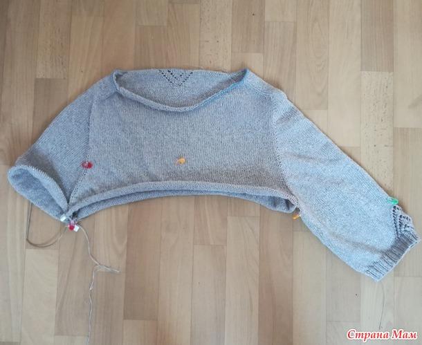 Летний пуловер с рукавом погон.