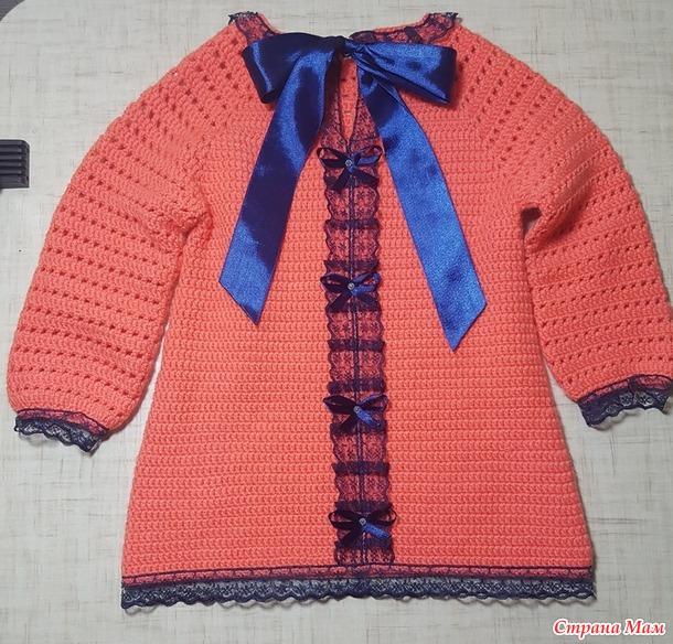 Детское платье с аппликацией,  процесс+краткое описание (дополнено)