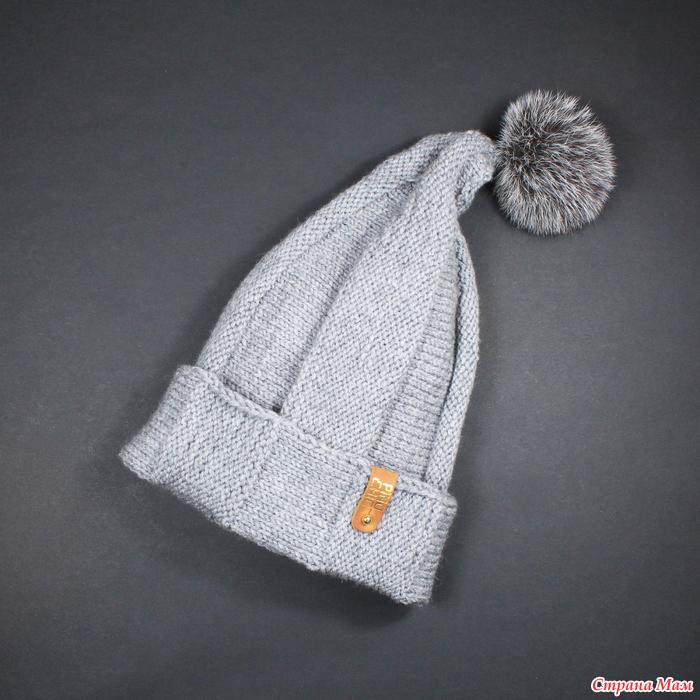 модная шапка бини с помпоном подробный мастер класс вязания легкой