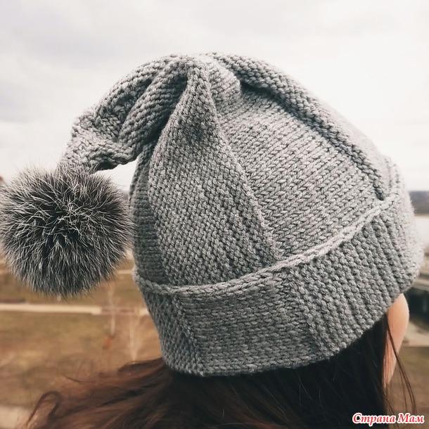 . Модная шапка-бини с помпоном. Подробный мастер-класс вязания легкой шапки спицами