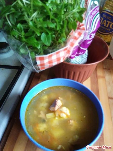 Рыбный суп с сырными клецками. Исполнение моё.