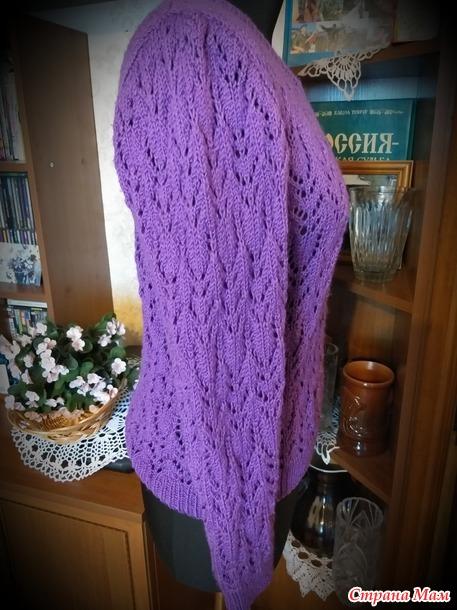 Пуловер и снуд  фиолетового цвета