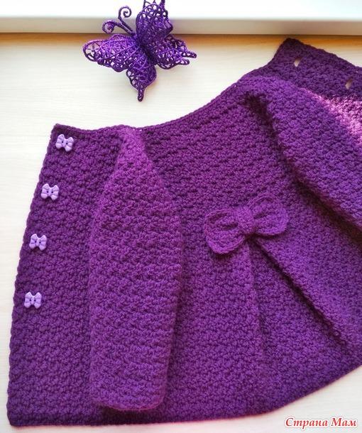 Детское вязаное пальто крючком Розали