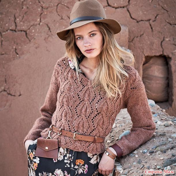 Ажурный пуловер с «косами»