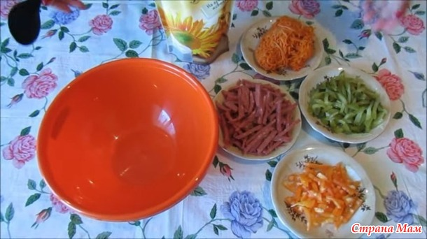Салат с копченой колбасой и морковью по-корейски