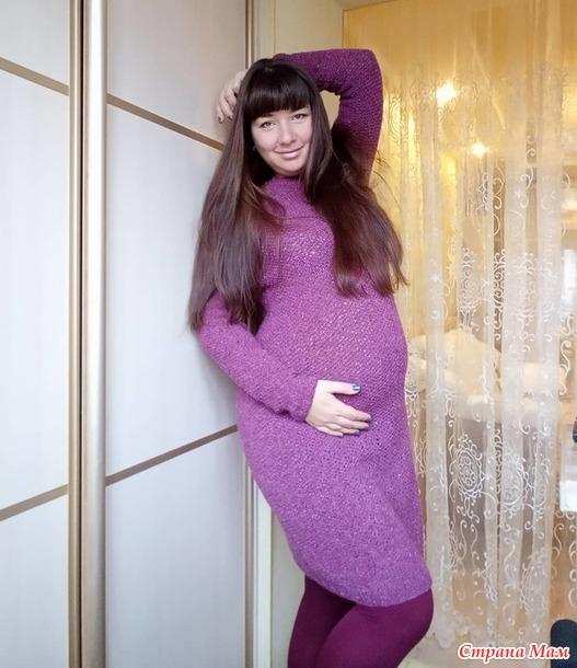 Твидовое платье спицами