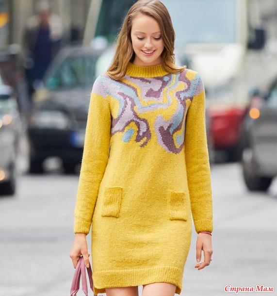 Платье-свитер с жаккардовым узором.