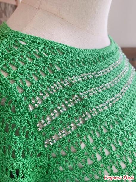 Яркий изумруд. Маленькое ажурное платье.