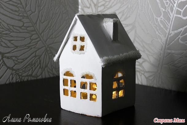 Очень просто! Новогодний домик из картона своими руками!