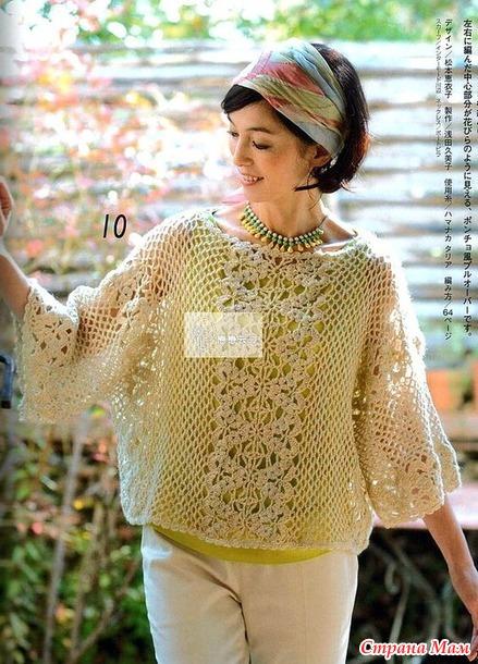 Нарядная ажурная блуза цвета топленого молока (поперечное вязание)