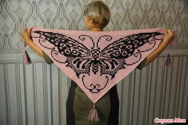Шаль-бактус бабочка
