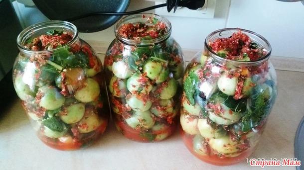Зеленые квашеные помидоры. Эксперимент. Дополнила.