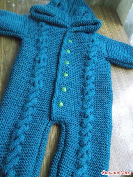 Комбинезон и шапка для малыша спицами и крючком