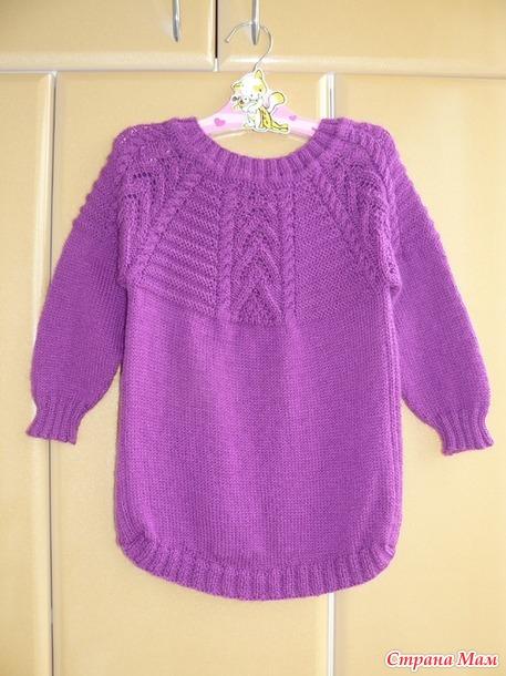 Пуловер-туника спицами