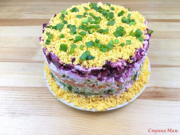 Слоеный салат Овощной торт