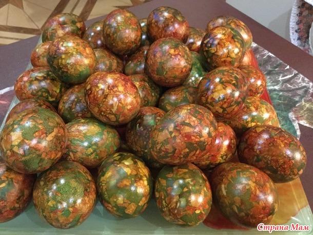 Мраморные яйца красим к Пасхе