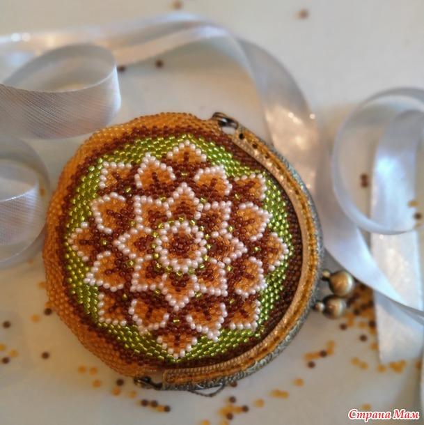 Апрельский кошелек с коричневым цветком