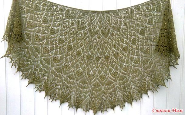 Ажурная шаль с бисером