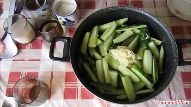 Салат из огурцов с чесноком «Дамские пальчики» на зиму