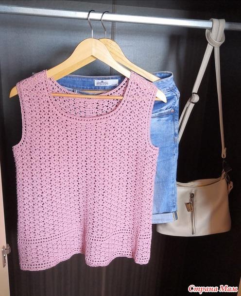 Блуза с воланами крючком. Он-лайн