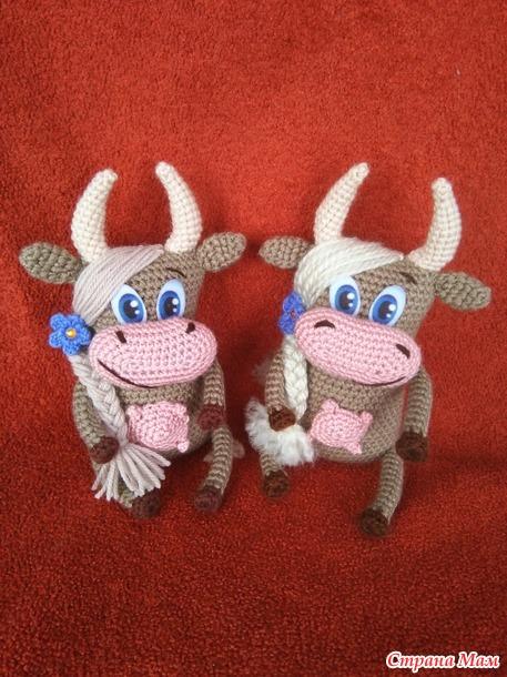вязаные бычки и коровки (Россия)