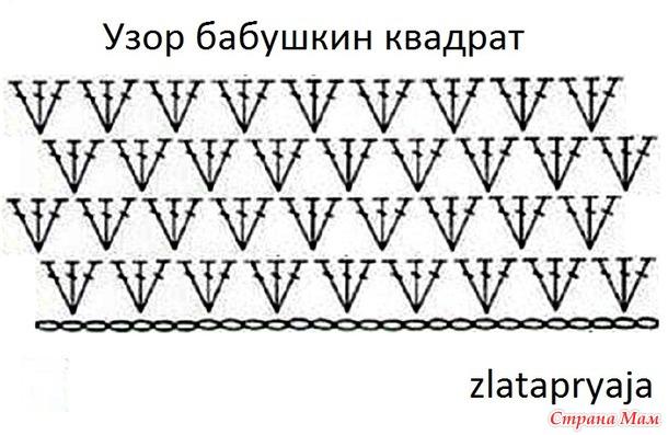 Узор крючком Бабушкин квадрат вяжу прямыми рядами по кругу