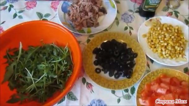 Диетический салата с тунцом и овощами