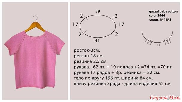 Мастер класс Розовая футболка спицами