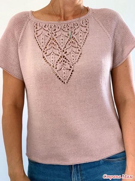 Топ и пуловер с ажурными вставками