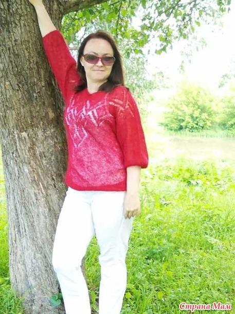 Радуга. Красный май. Отчет №4. Рубиновый свитерок из кид мохера.