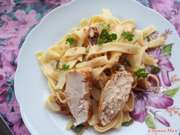 Тальятелле с куриным мясом.