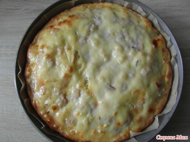 Пирог заливной с мясом сома.