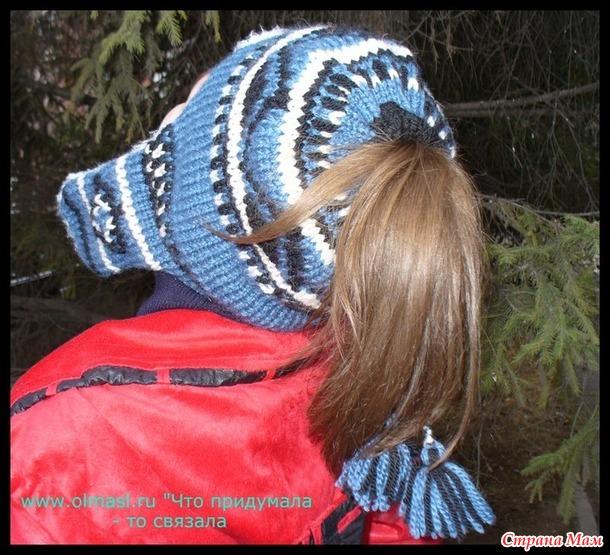 Шапка с дырочкой для волос