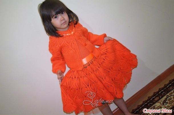 Кружевной костюм для девочки 7 и 4х лет. (две модели по одной схеме)