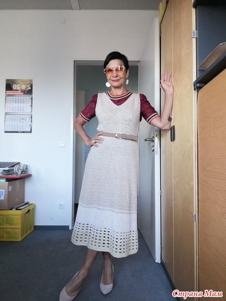 Платье  на круглой кокетке.  Жаккард крючком. Irina Horn