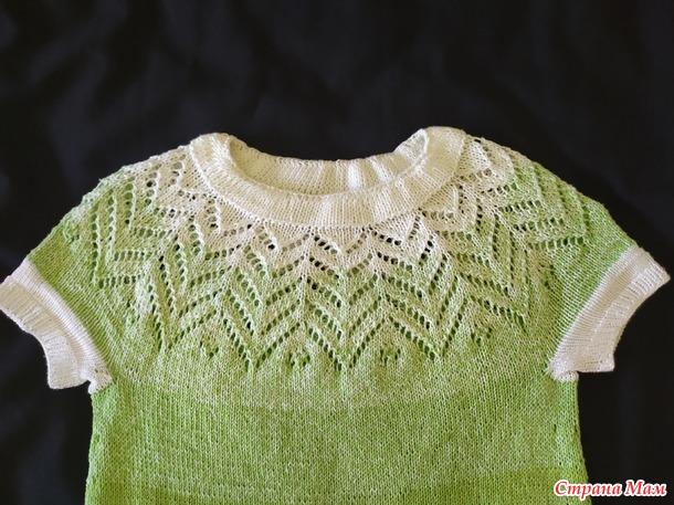 Платье спицами для девочки 5-6 лет.