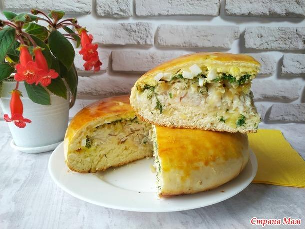 Рыбный пирог: вкусное тесто и много начинки