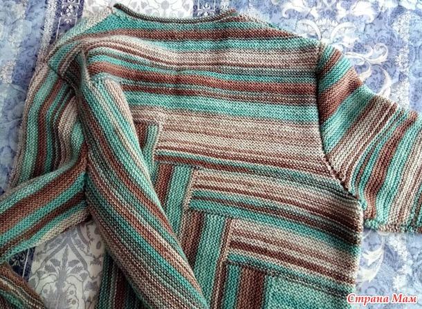 Пуловер из шерсти по мотивам летнего топа платочной вязкой блоками (дополнено)