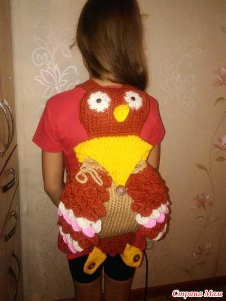 Рюкзак-сова крючком