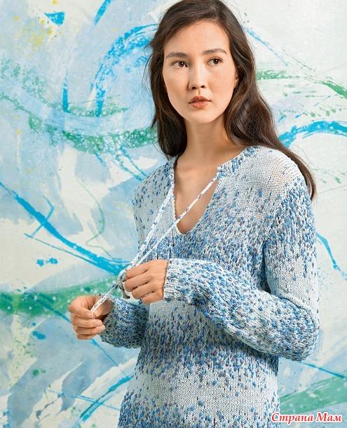 Пуловер с завязками и удлиненной спинкой