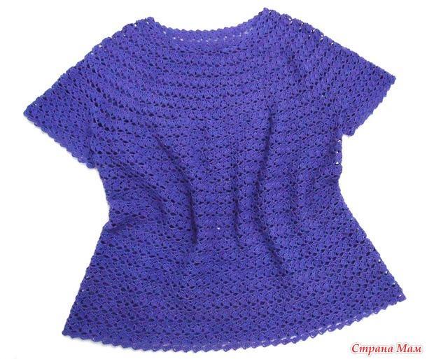 Ажурная блуза крючком. ( Круглая кокетка).
